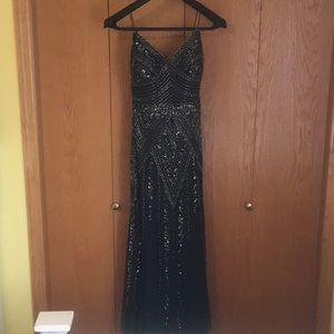 Gunmetal Grey beaded Prom dress, Art Deco
